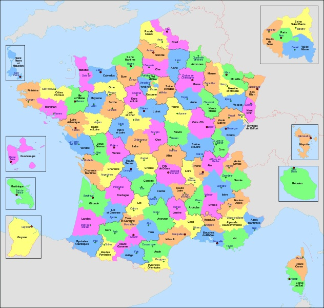 carte departements couleurs