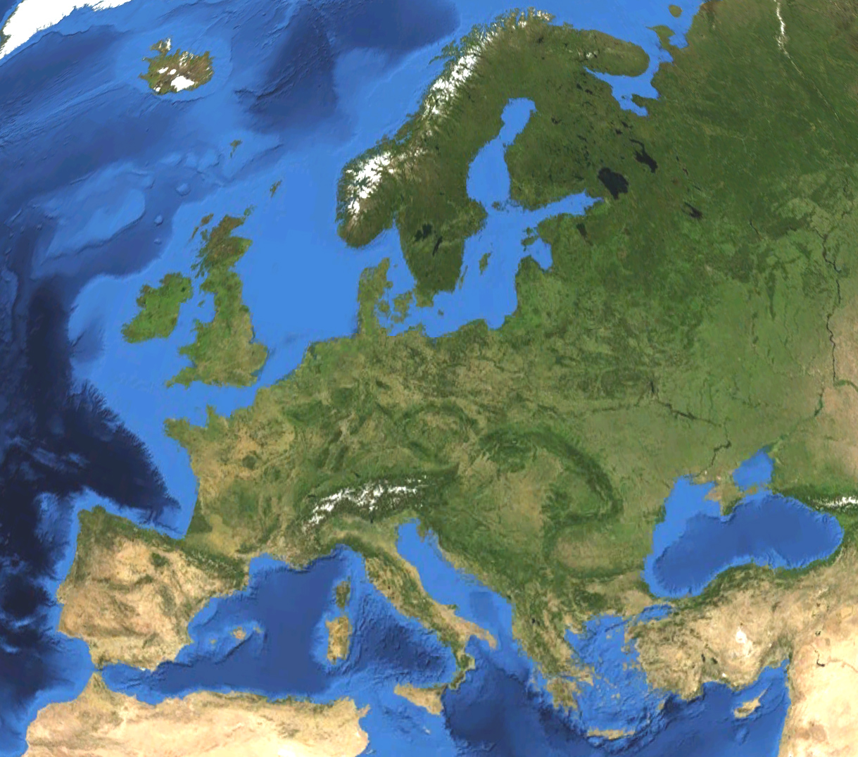 carte satellite europe