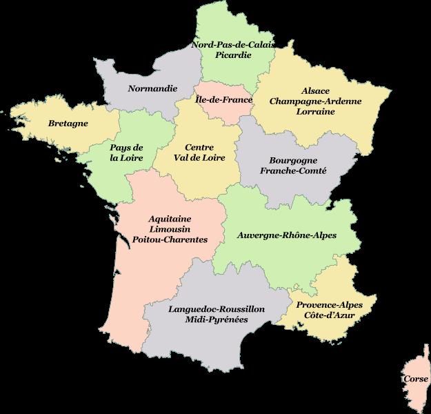 carte régions métropolitaines
