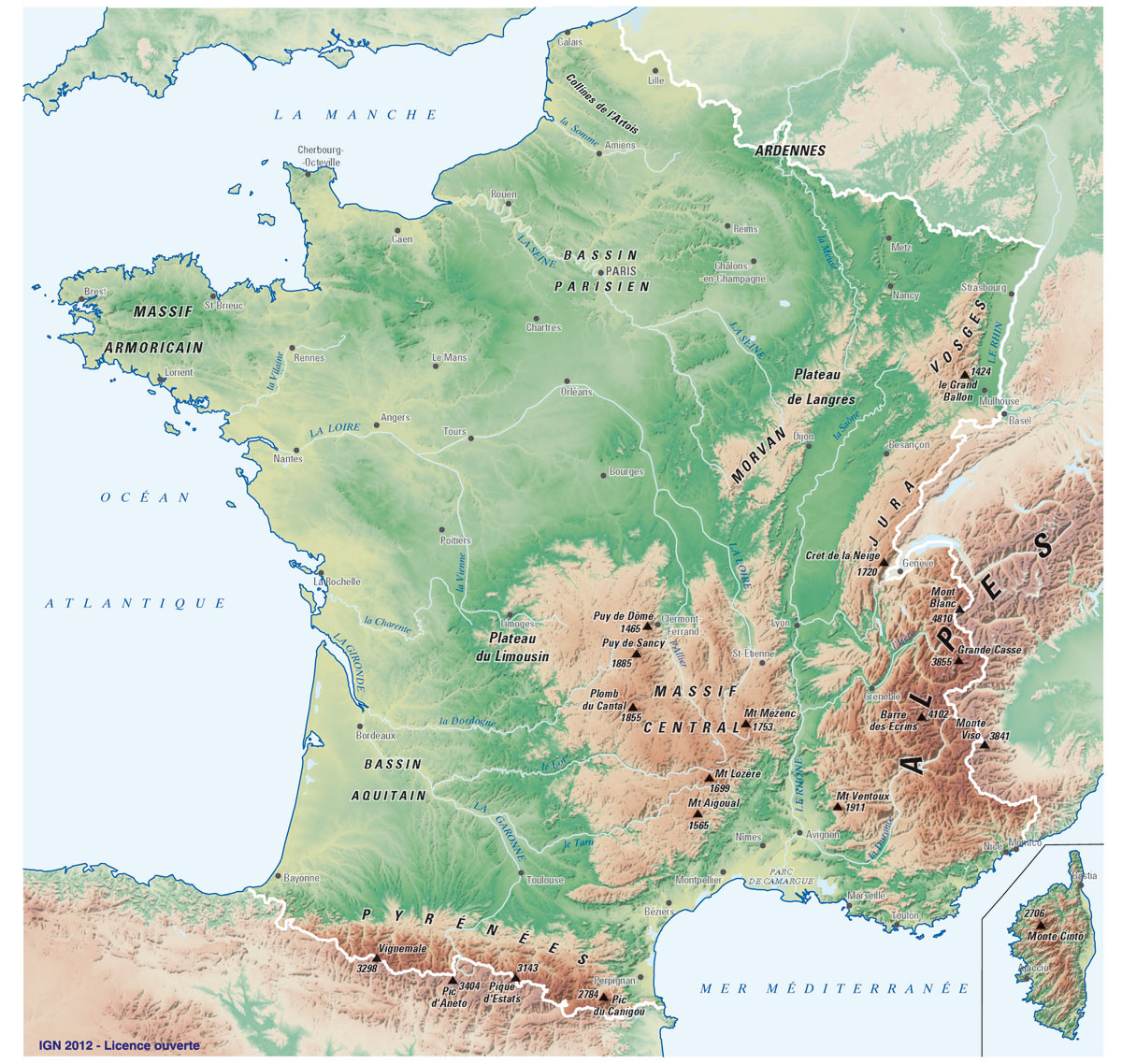 carte massifs relief