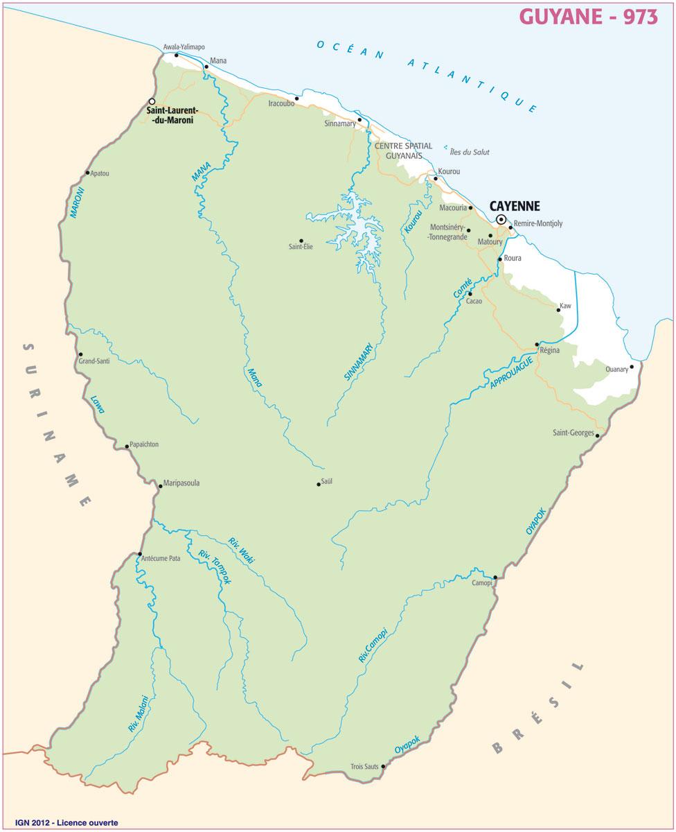 carte relief Guyane