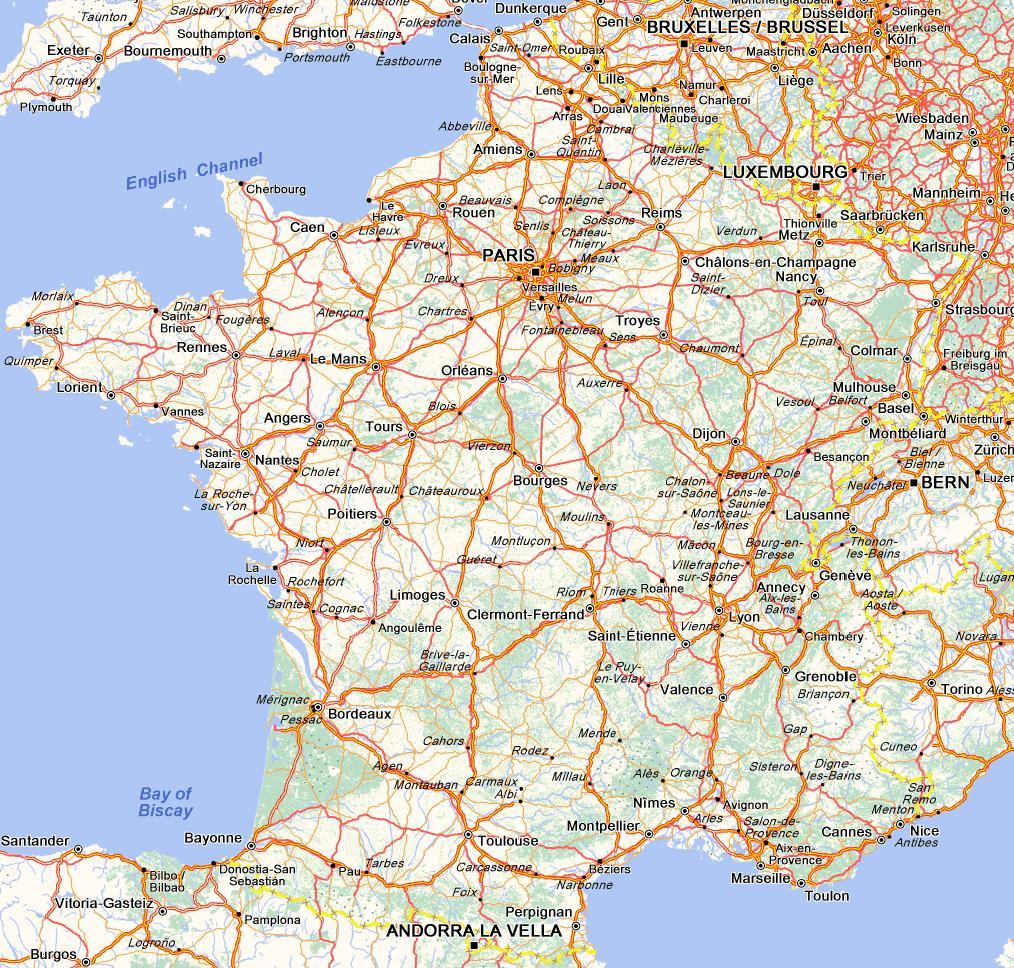 carte villes routes
