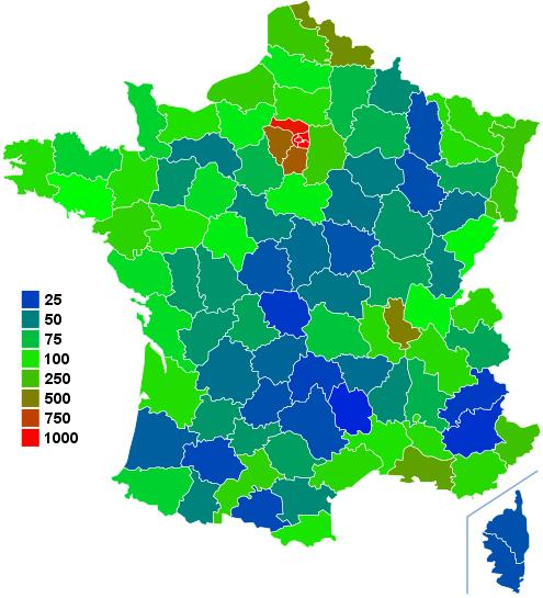 Carte de france de la densite de population