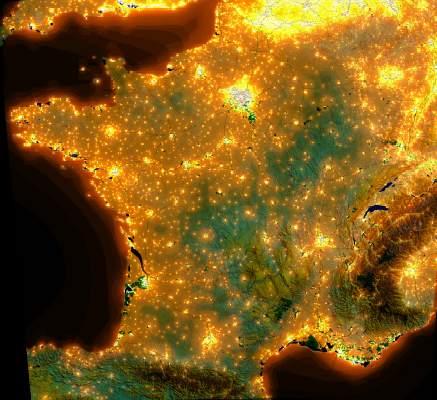 Carte de France de la pollution lumineuse