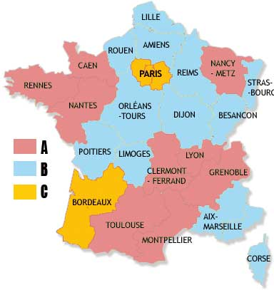 Carte de France scolaire