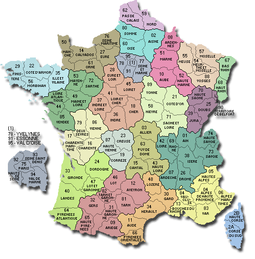 carte departements