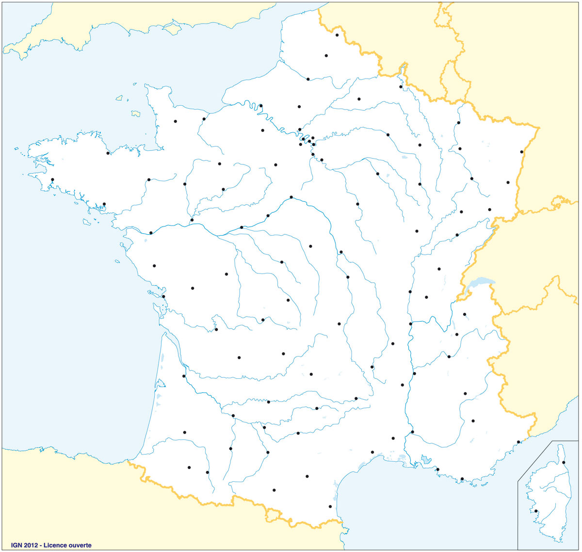 fond carte villes fleuves
