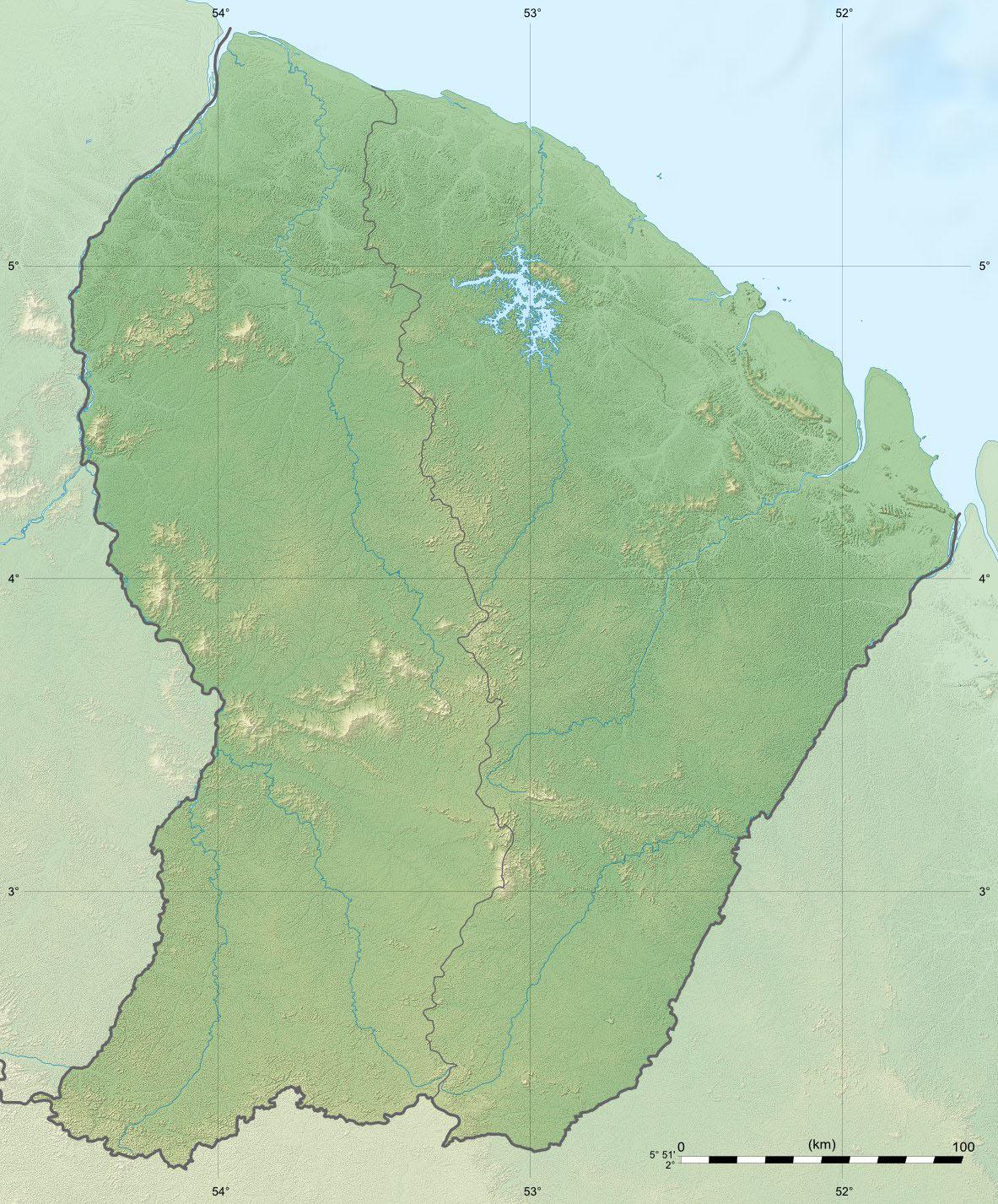 fond carte relief Guyane