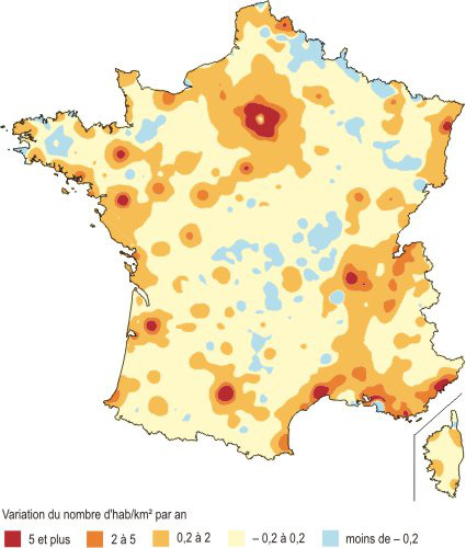 carte variation densite